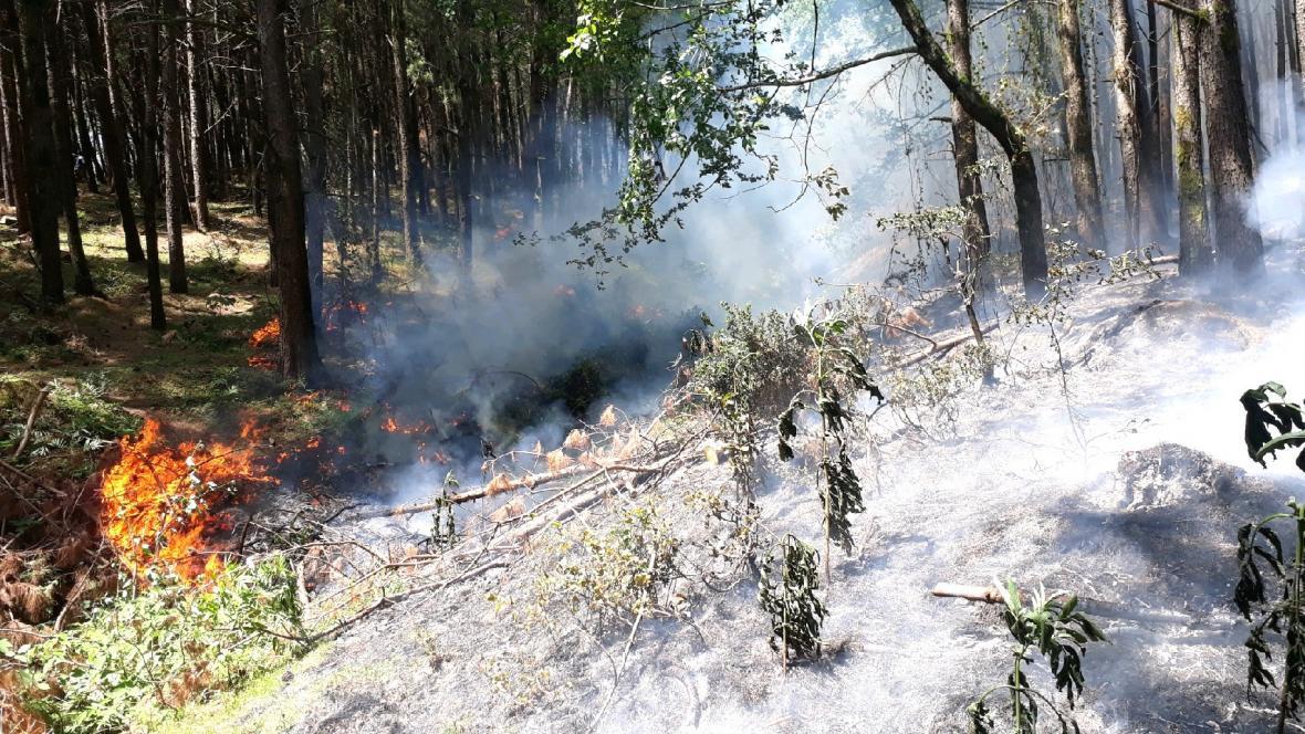 کنترل آتش سوزی در ارتفاعات ماسال استان گیلان